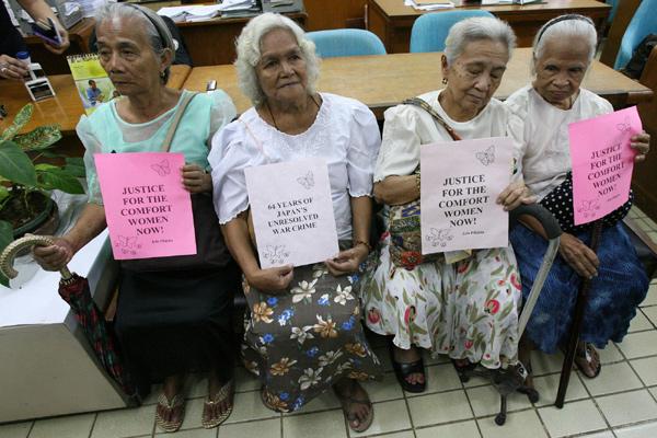 Comfort women in the Philippines seeking justice.